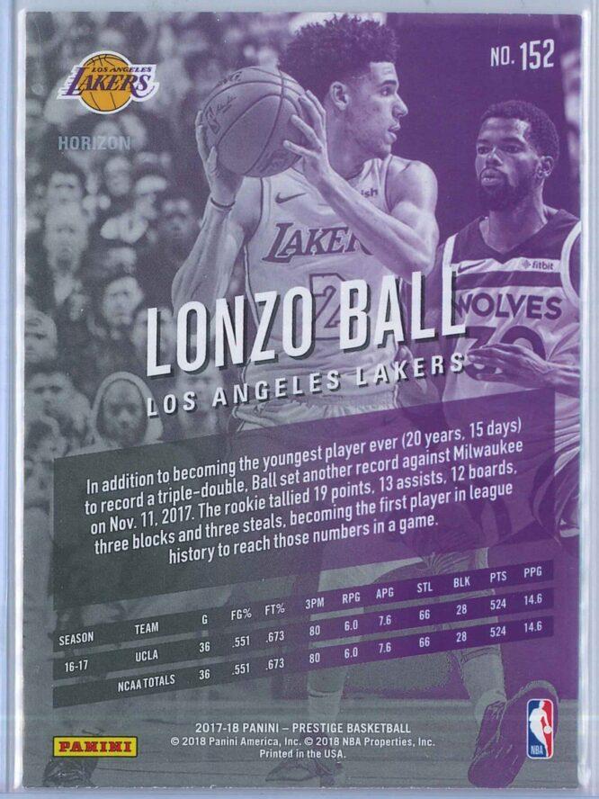 Lonzo Ball Panini Prestige Basketball 2017 18 Base Horizon Parallel RC 2
