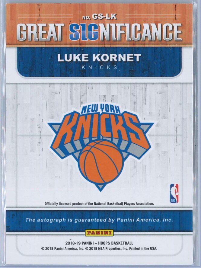Luke Kornet Panini NBA Hoops 2018 19 Great SIGnificance Auto 2