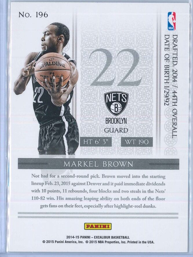 Markel Brown Panini Excalibur Basketball 2014 15 Knights Templar Red Foil RC 2