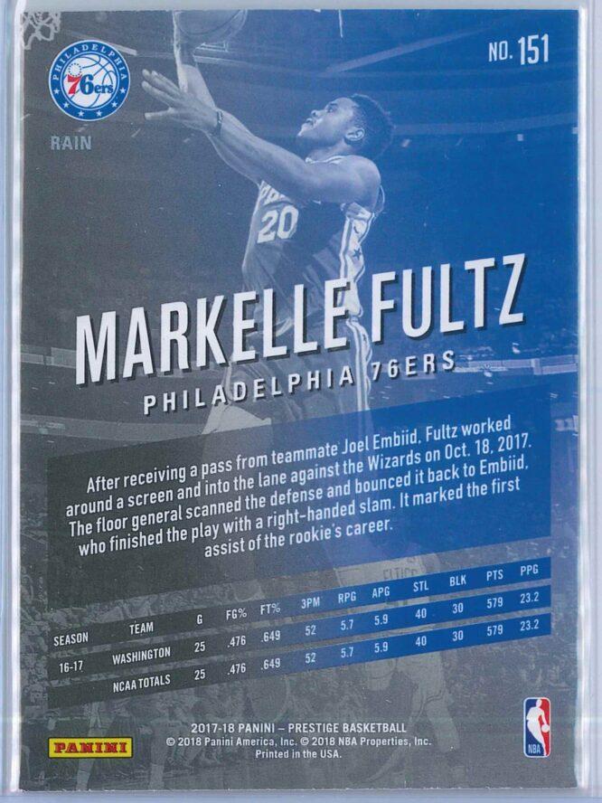 Markelle Fultz Panini Prestige Basketball 2017 18 Base Rain Parallel RC 2