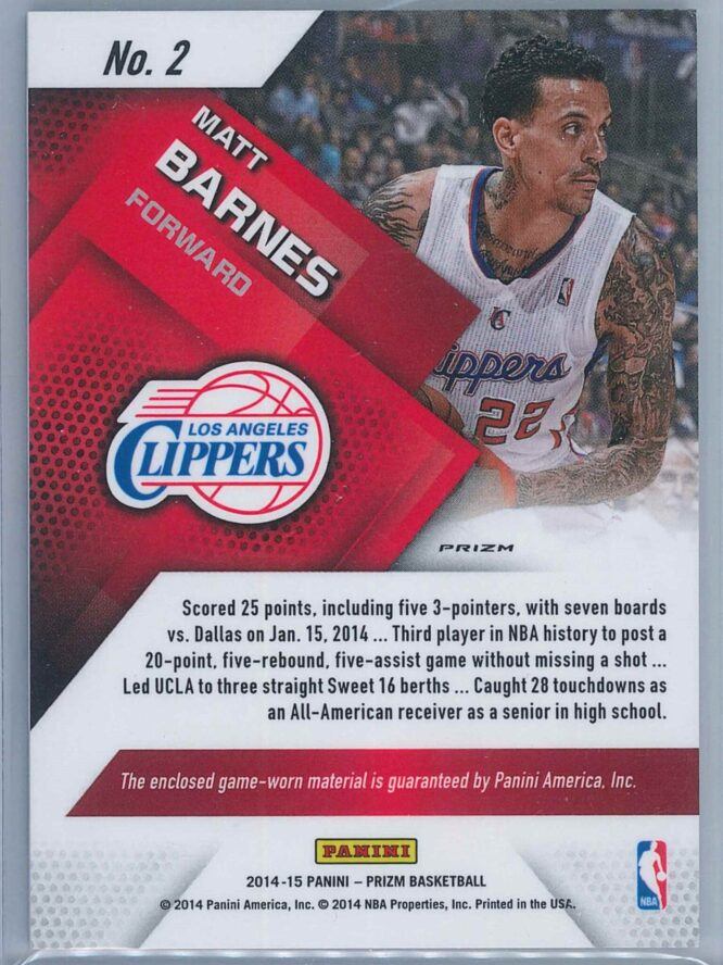 Matt Barnes Panini Prizm Basketball 2014 15 Jerseys Prizms Blue Mojo 2
