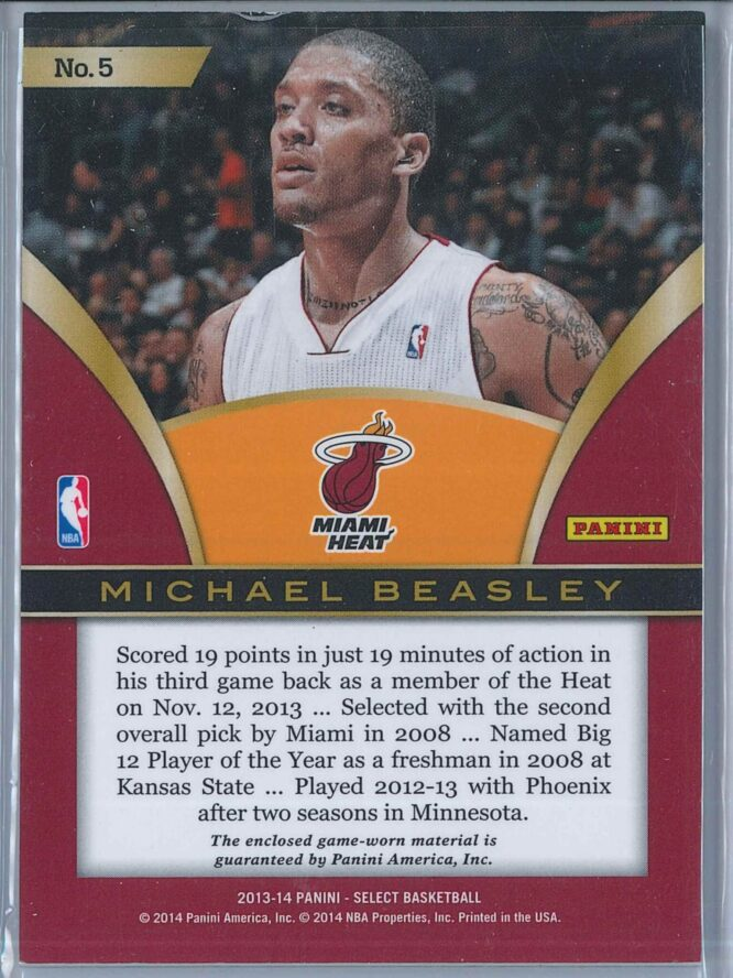 Michael Beasley Panini Select 2013 14 Select Swatches 2