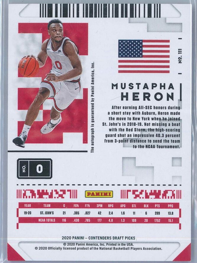 Mustapha Heron Panini Contenders Basketball 2020 Game Ticket RC Auto 2