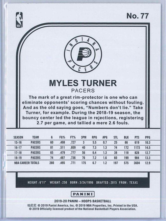 Myles Turner Panini NBA Hoops 2019 20 Purple 2