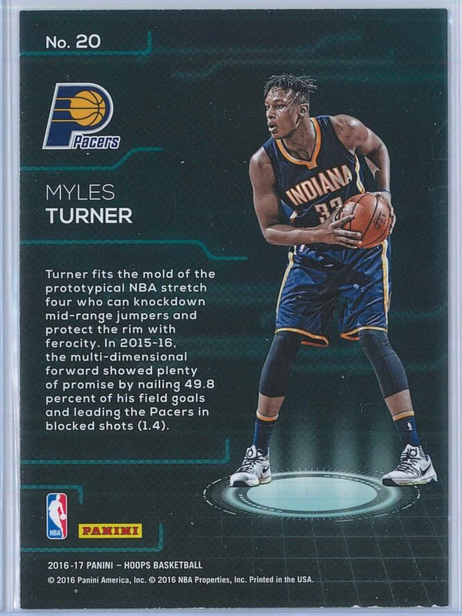 Myles Turner Panini NBA Hoops Basketball 2016 17 Faces Of The Future 2