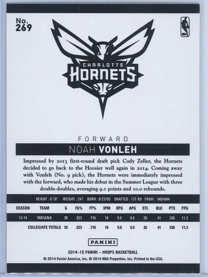 Noah Vonleh Panini NBA Hoops Basketball 2014 15 Base Gold RC 2