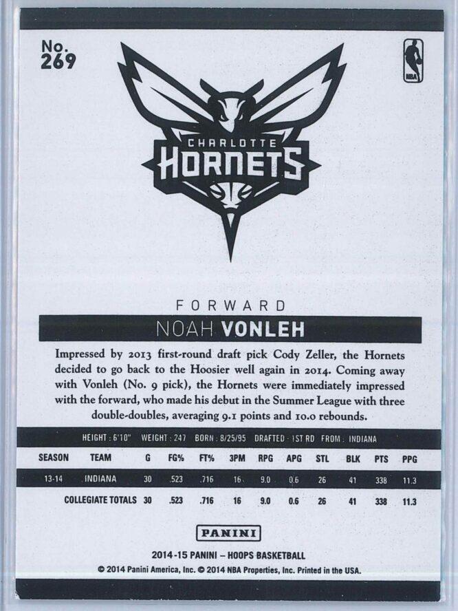 Noah Vonleh Panini NBA Hoops Basketball 2014 15 Base Green RC 2