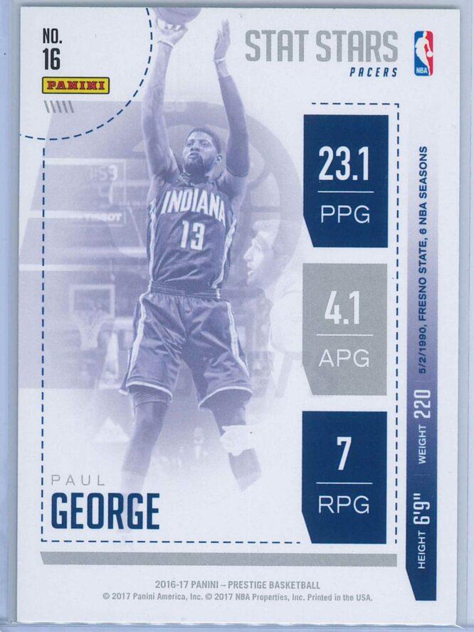 Paul George Panini Prestige Basketball 2016 17 Stat Stars 2
