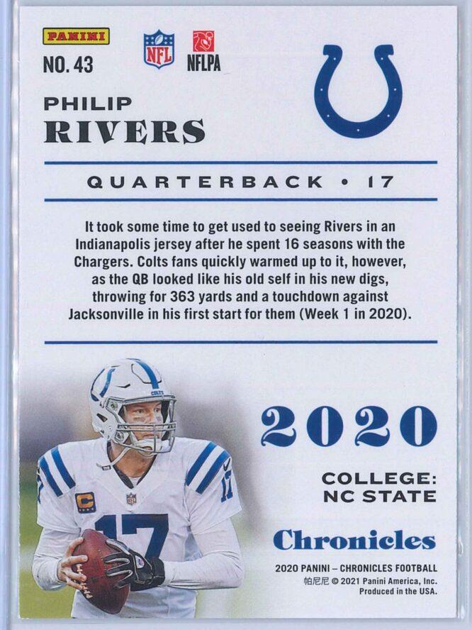 Philip Rivers Panini Chronicles Football 2020 Base 2