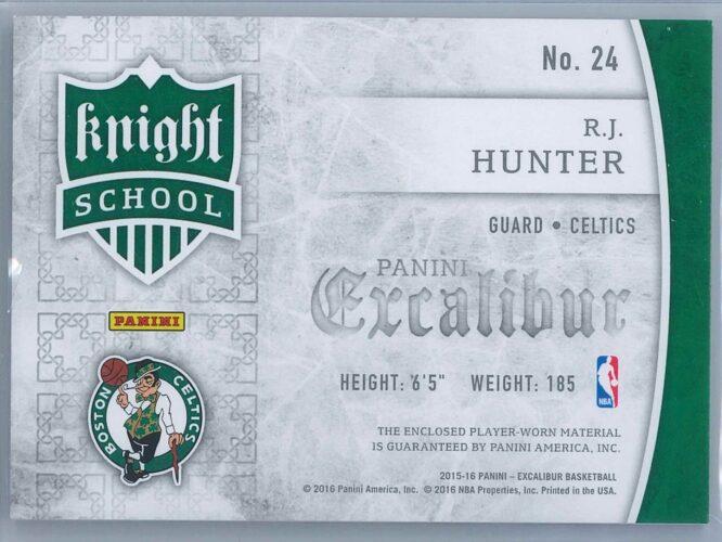 R.J. Hunter Panini Excalibur 2015 16 Knight School Jerseys RC 2