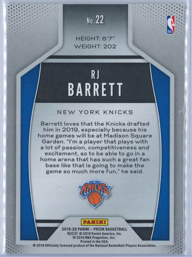 RJ Barrett Panini Prizm 2019 20 Instant Impact 2