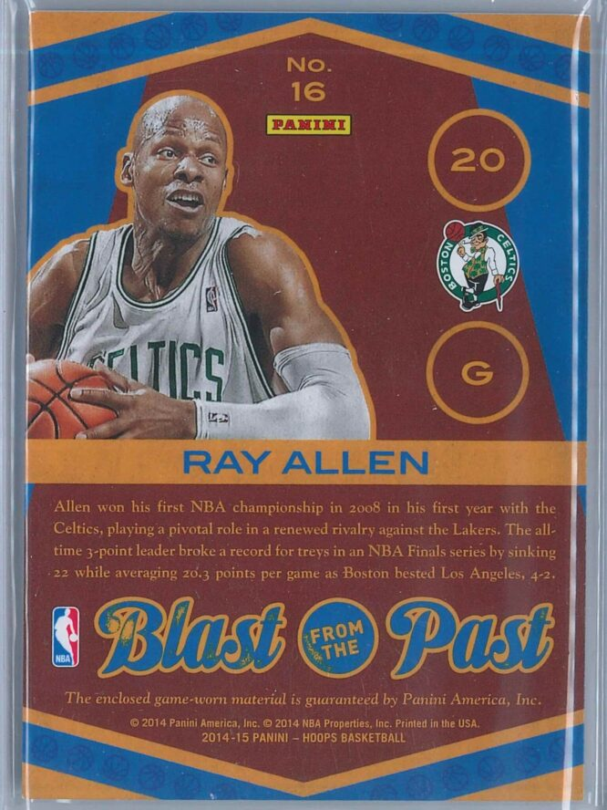 Ray Allen Panini NBA Hoops 2014 15 Blast From The Past Memorabilia 2