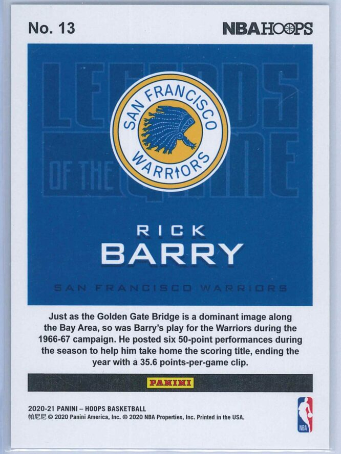 Rick Barry Panini NBA Hoops 2020 21 Legends Of The Game 540699 2