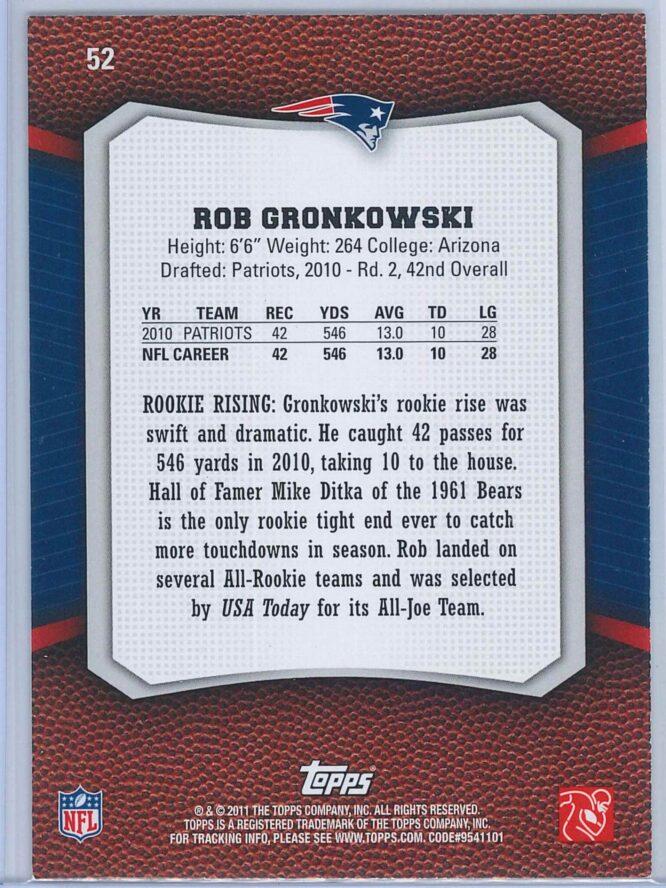 Rob Gronkowski Topps Football 2011 Rising Rookies 2