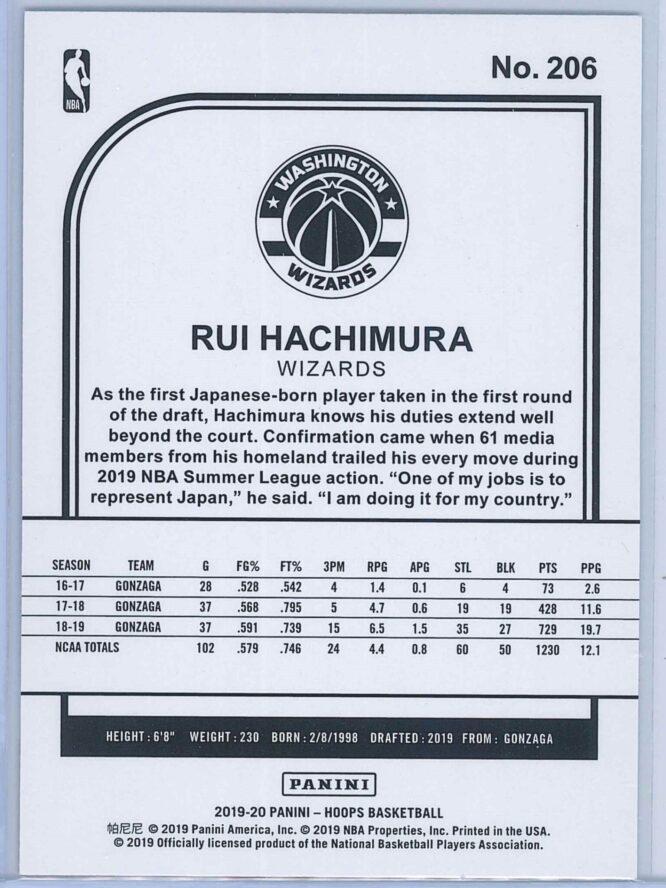 Rui Hachimura Panini NBA Hoops Basketball 2019 20 Base Blue RC 2