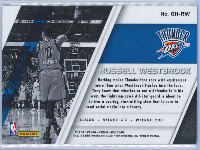 Russell Westbrook Panini Prizm 2017 18 Get Hyped 2