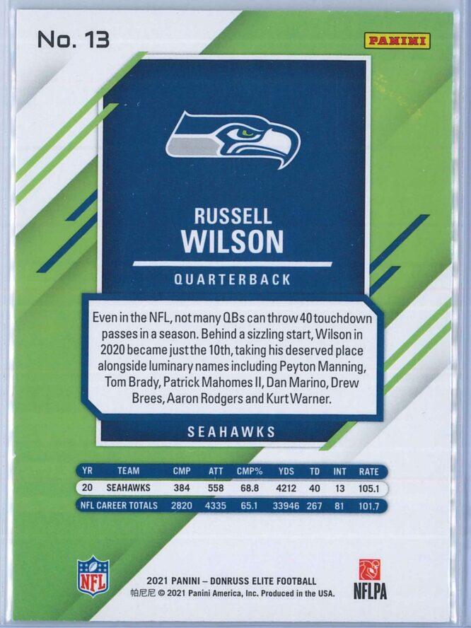 Russell Wilson Panini Donruss Elite Football 2021 Base 2