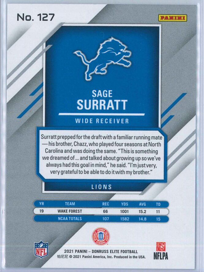 Sage Surratt Panini Elite Football 2021 Base RED 168399 RC 2
