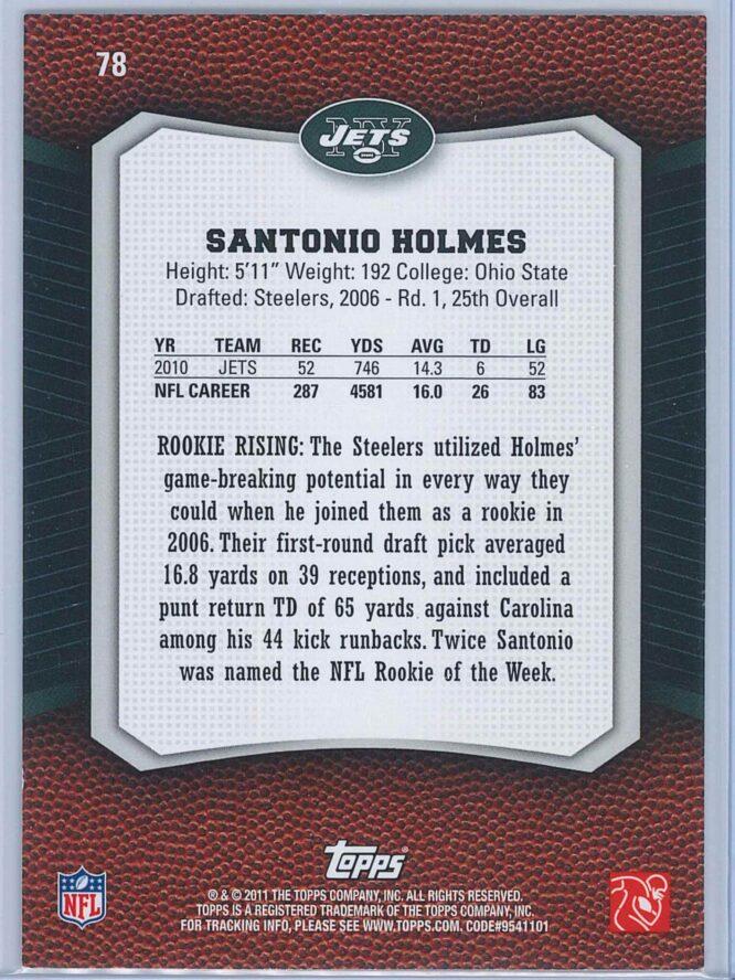 Santonio Holmes Topps Football 2011 Rising Rookies 2