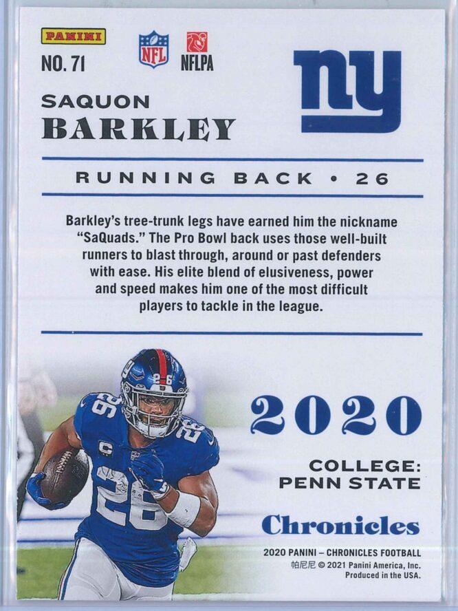 Saquon Barkley Panini Chronicles Football 2020 Base 2