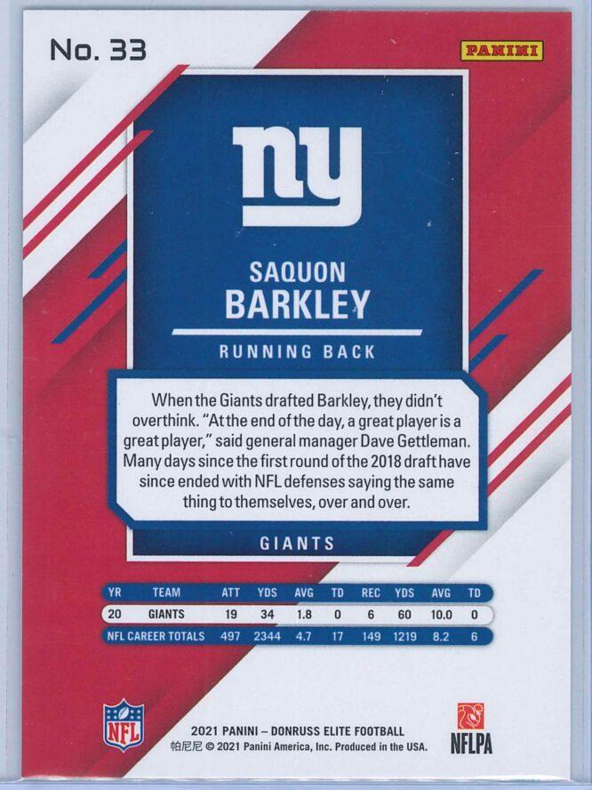 Saquon Barkley Panini Donruss Elite Football 2021 Base 2