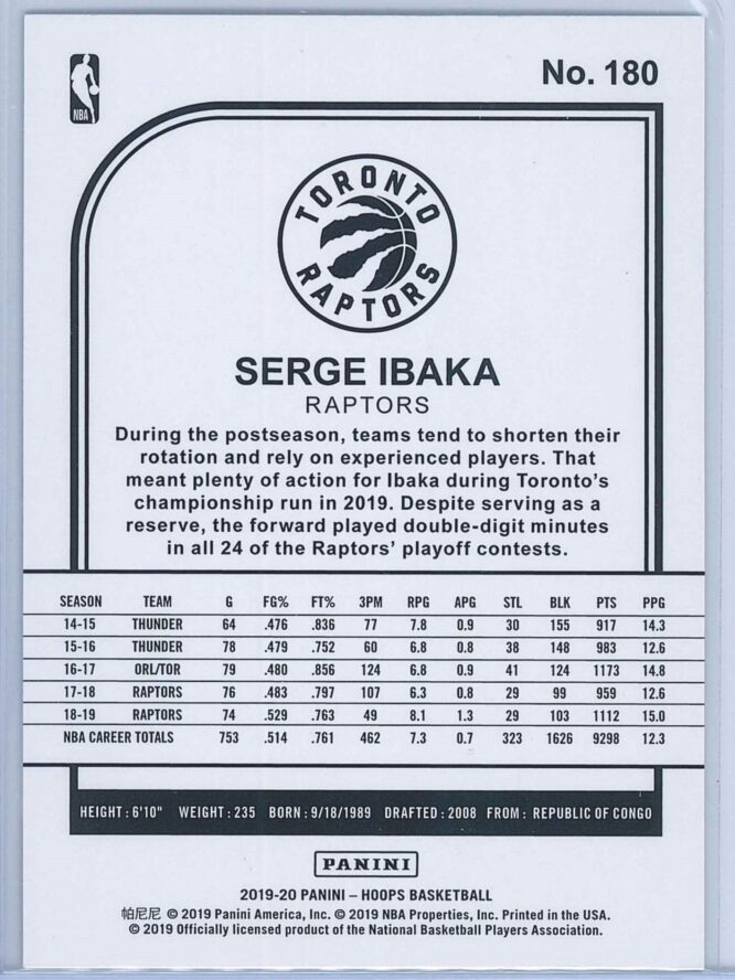 Serge Ibaka Panini NBA Hoops 2019 20 Purple 2