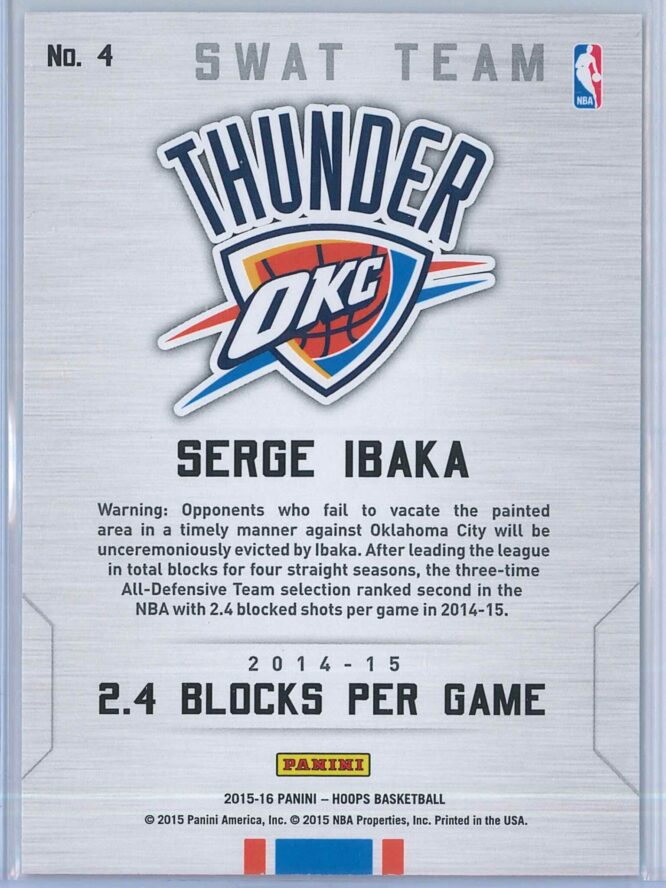 Serge Ibaka Panini NBA Hoops Basketball 2015 16 Swat Team 2