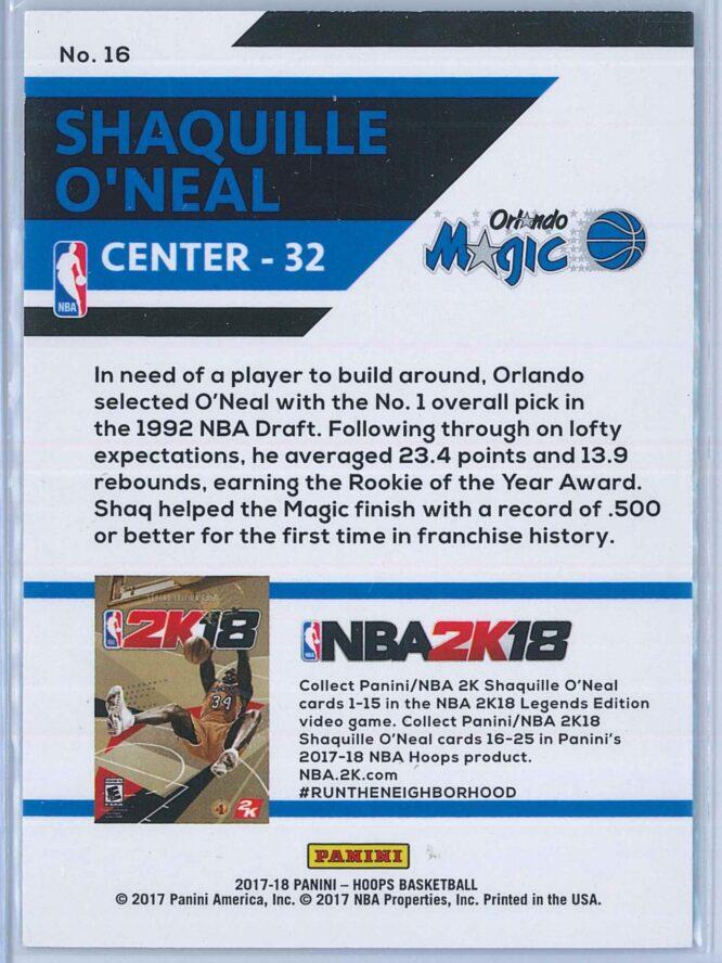 Shaquille Oneal Panini NBA Hoops 2017 18 NBA 2K 2