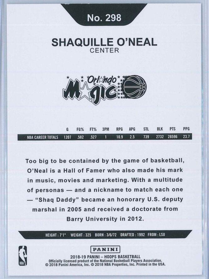 Shaquille Oneal Panini NBA Hoops 2018 19 Base 2