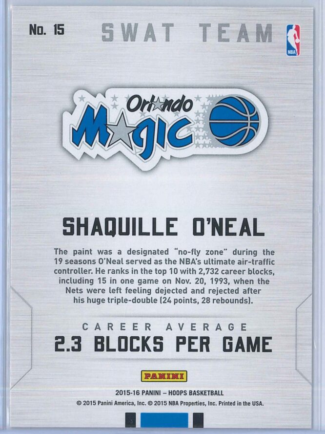 Shaquille Oneal Panini NBA Hoops Basketball 2015 16 Swat Team 2