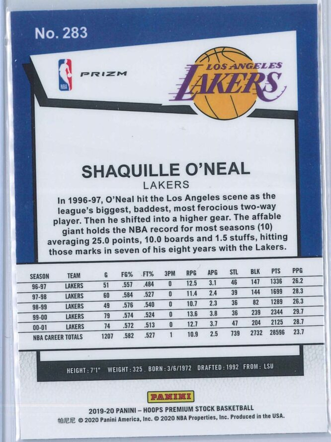 Shaquille Oneal Panini NBA Hoops Premium Stock 2019 20 Tribute Silver Laser Prizm 2