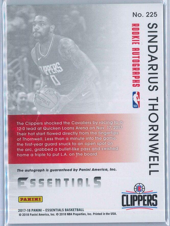 Sindarius Thornwell Panini Essentials Basketball 2017 18 Rookie Autos RC 2
