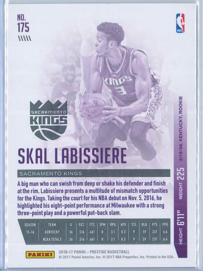 Skal Labissiere Panini Prestige Basketball 2016 17 Base Red Bonus Shots 5075 2