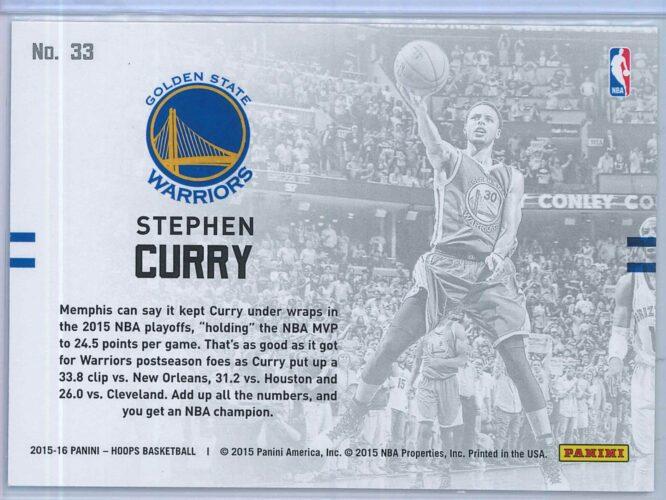 Stephen Curry Panini NBA Hoops Basketball 2015 16 Lights Camera Action 2