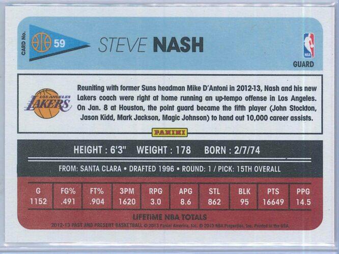Steve Nash Panini Past And Present Basketball 2012 13 Base 2