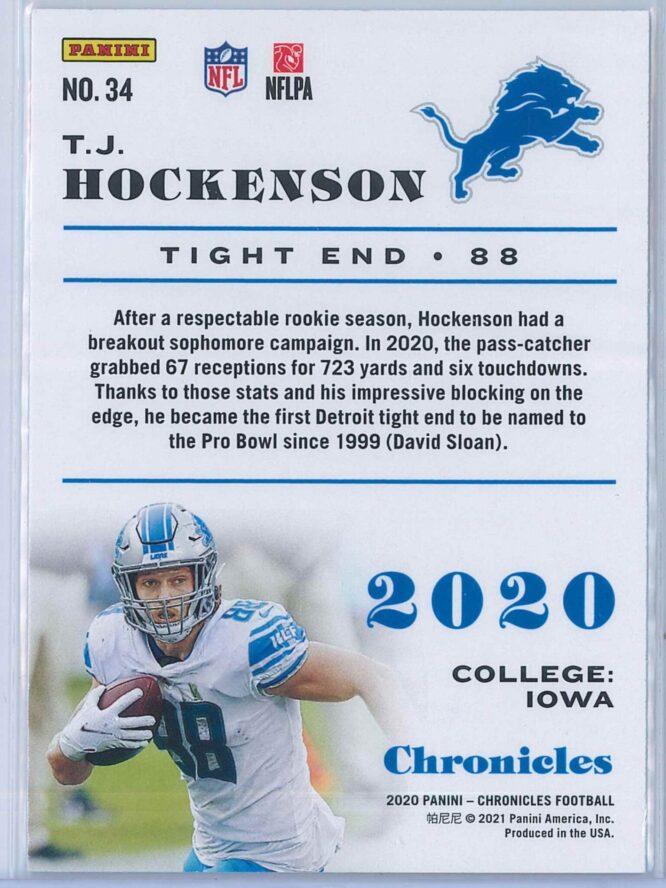 T.J. Hockenson Panini Chronicles Football 2020 Base 2