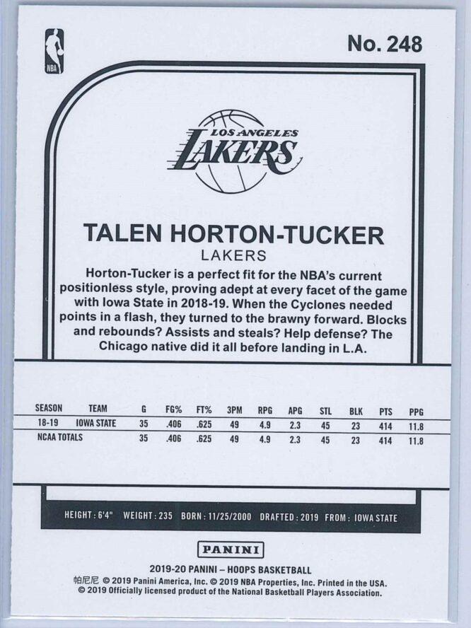 Talen Horton Tucker Panini NBA Hoops Basketball 2019 20 Base Purple RC 2