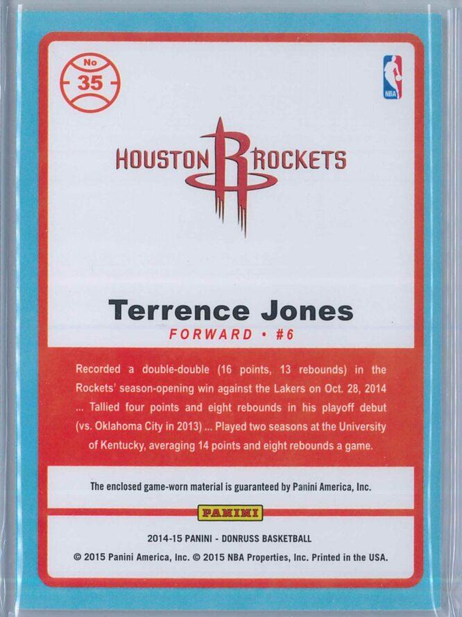 Terrence Jones Panini Donruss Basketball 2014 15 Game Threads 2