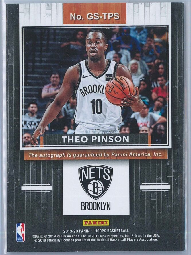 Theo Pinson Panini NBA Hoops 2019 20 Great SIGnificance Auto 2