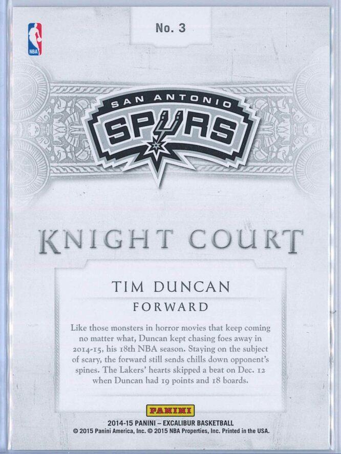 Tim Duncan Panini Excalibur Basketball 2014 15 Knight Court Orange 2599 2