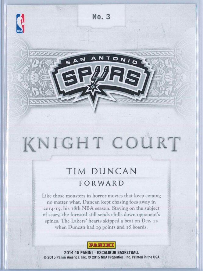 Tim Duncan Panini Excalibur Basketball 2014 15 Knight Court Orange 5999 2
