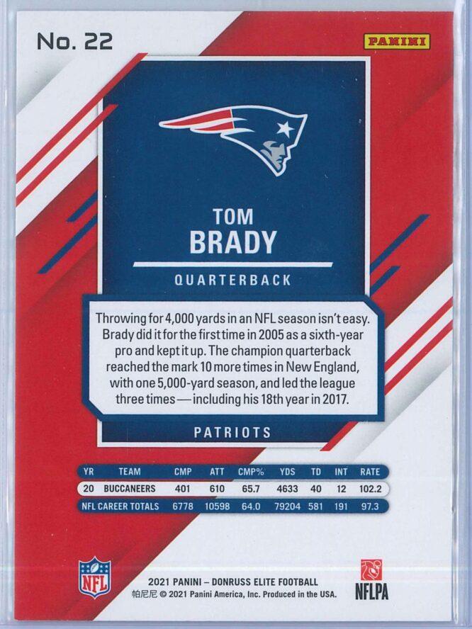 Tom Brady Panini Donruss Elite Football 2021 Base 2