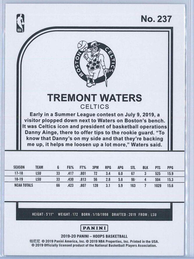Tremont Waters Panini NBA Hoops Basketball 2019 20 Base Purple RC 2