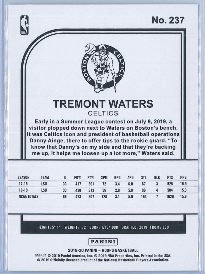 Tremont Waters Panini NBA Hoops Basketball 2019 20 Base Teal Explosion RC 2