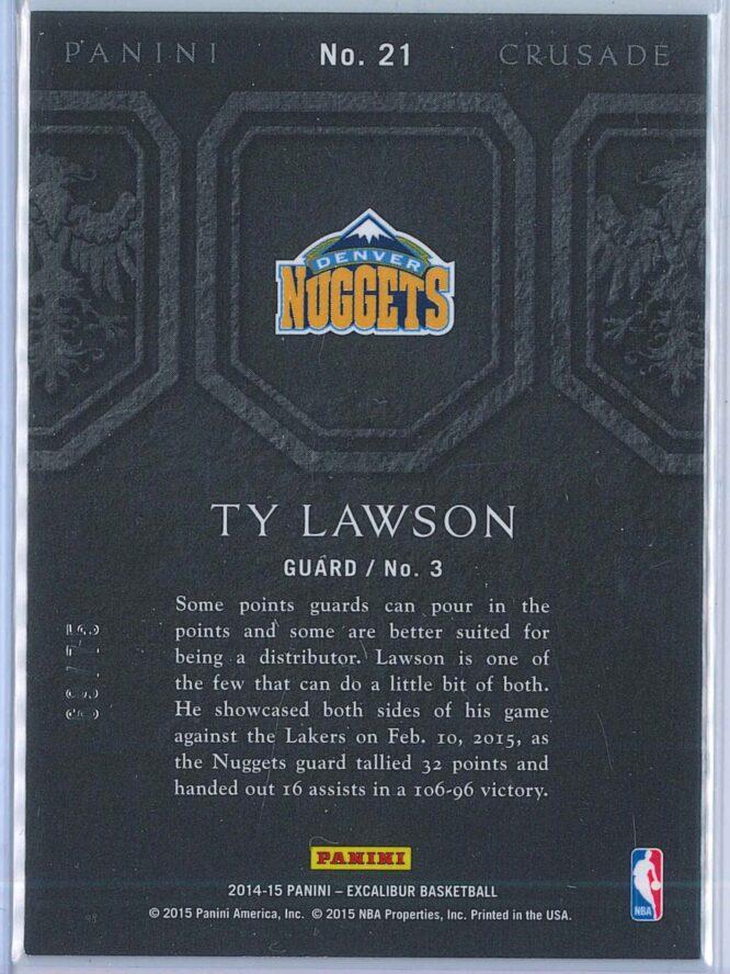 Ty Lawson Panini Excalibur Basketball 2014 15 Crusade Camouflage Purple 6975 2
