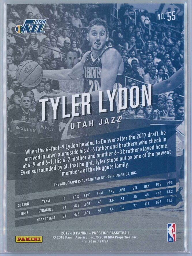 Tyler Lydon Panini Prestige Basketball 2017 18 Bonus Shots Auto 2