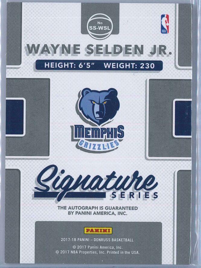 Wayne Selden Jr. Panini Donruss Basketball 2017 18 Signature Series Auto 2