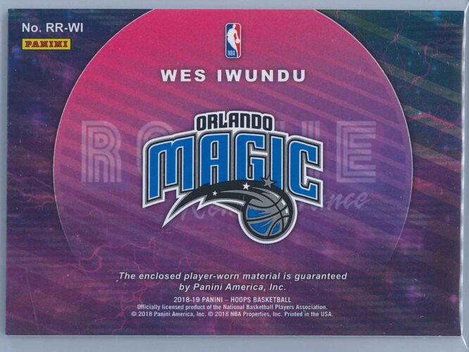 Wes Iwundu Panini NBA Hoops 2018 19 Rookie Remembrance Relic Winter 2