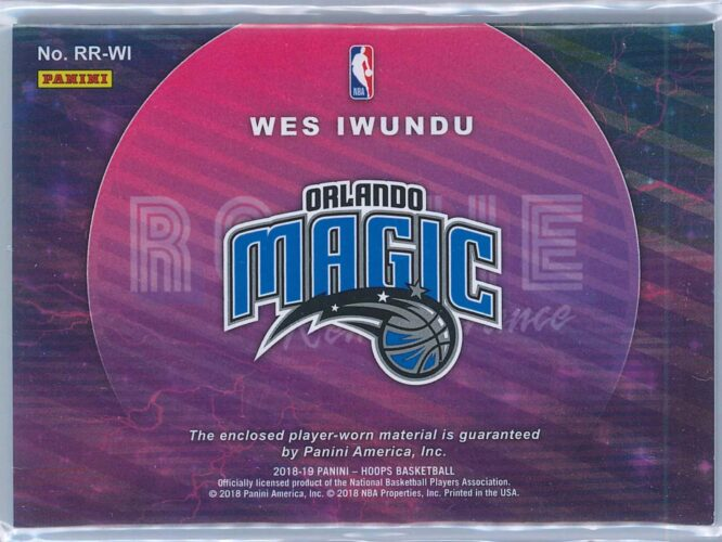Wes Iwundu Panini NBA Hoops 2018 19 Rookie Remembrance Relic Winter Two Colour Patch 2