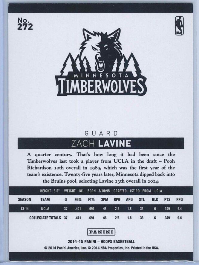 Zach Lavine Panini NBA Hoops Basketball 2014 15 Base Gold RC 2